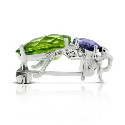 Iolite & Peridot & Diamond Bug Brooch / Pendant 14K