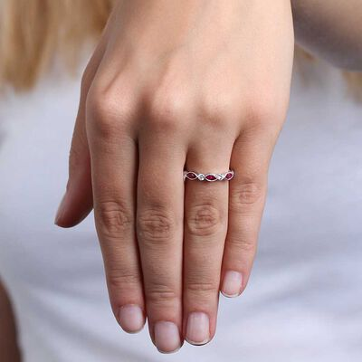 Marquise Ruby & Diamond Ring 14K