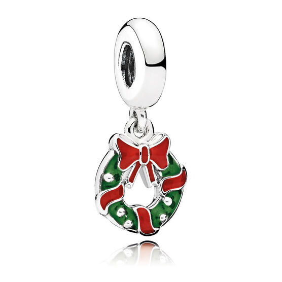 Pandora Holiday Wreath Enamel Dangle Charm