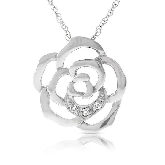 Blooming Rose Diamond Pendant 14K