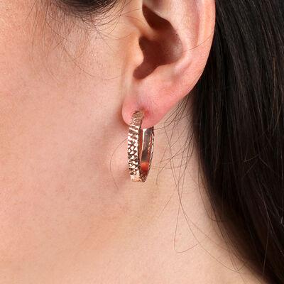 Rose Gold Toscano Oval Hoop Earrings 14K