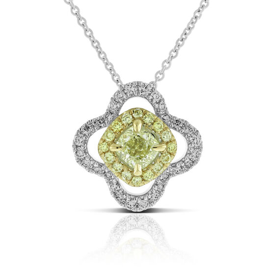Yellow & White Diamond Halo Flower Pendant 14K