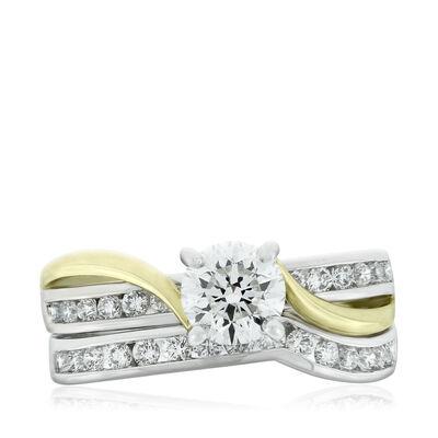 Two Tone Diamond Wedding Set 14K