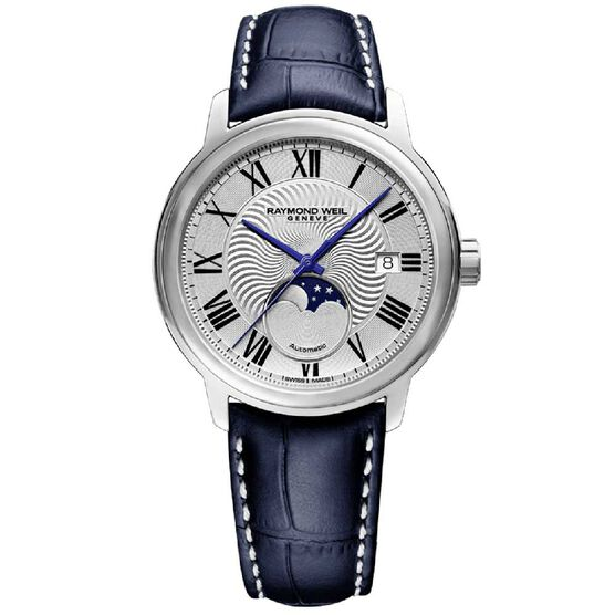 Raymond Weil Maestro Moon Phase Automatic Leather Strap Watch, 40mm