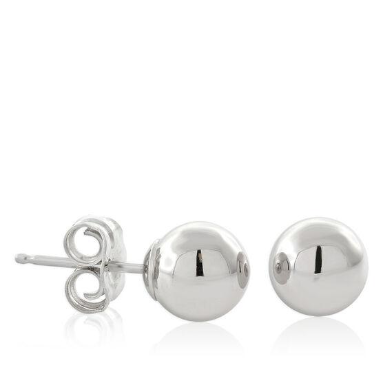 White Gold Ball Earrings 14K, 6mm