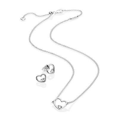 PANDORA Shape Of My Heart Jewelry Gift Set Necklace Earrings