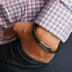 "Leather, Steel & Diamond Bracelet, 8.5"""