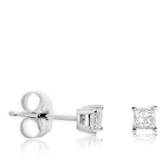 Princess Cut Diamond Earrings 14K, 1/4 ctw.