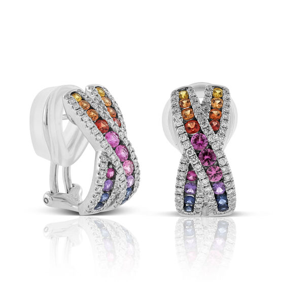 Rainbow Sapphire & Diamond Criss Cross Hoop Earrings 14K