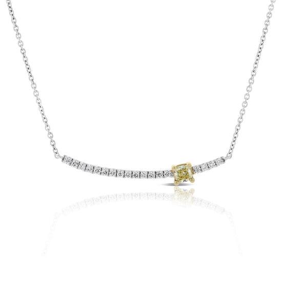 Yellow & White Diamond Arc Necklace 14K