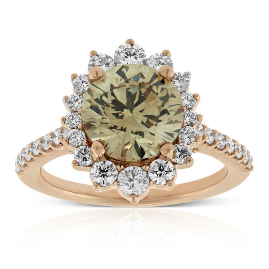 Rose Gold Diamond Ring 18K, Fancy Yellow Brown 3.02 ct. Center