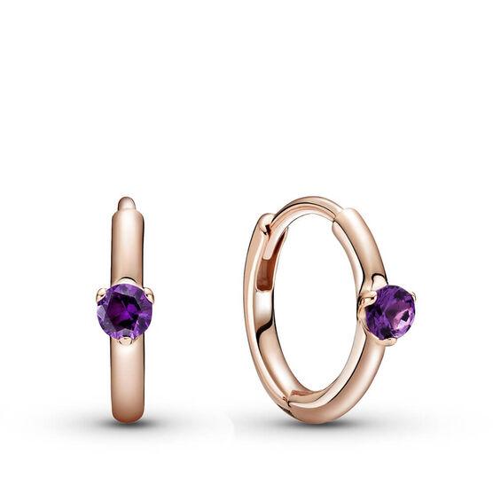 Pandora Rose™ Purple Solitaire Crystal Huggie Hoop Earrings