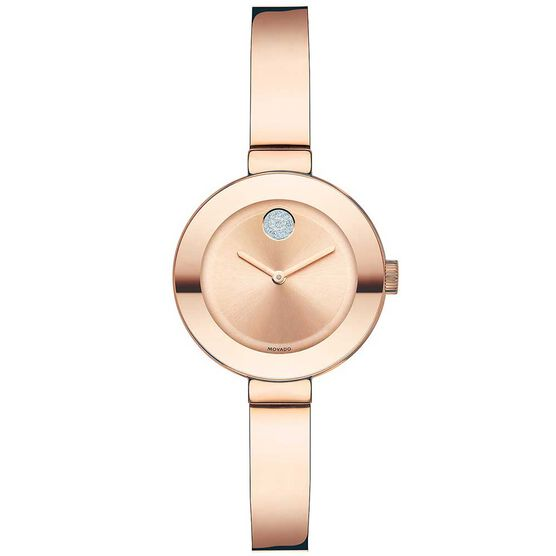 Movado Bold Rose PVD & Crystal Bangle Watch