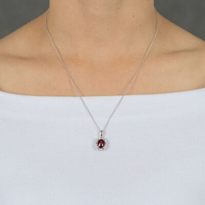 Rhodolite Garnet & Diamond Necklace 14K