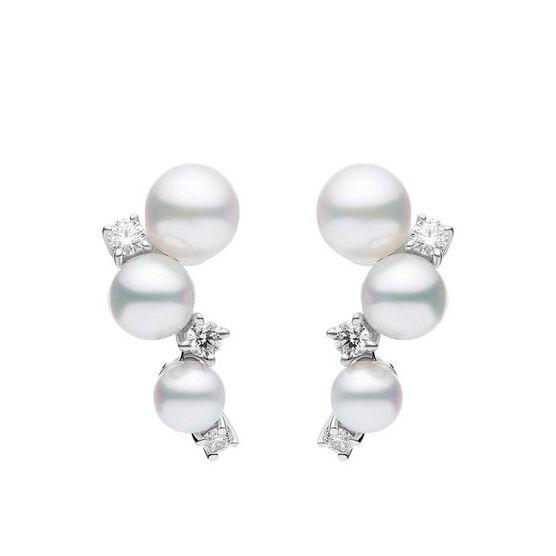 Mikimoto Akoya Cultured Pearl & Diamond Bubble Earrings 18K