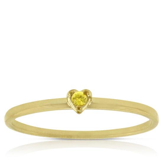 Yellow Sapphire Heart Ring 14K