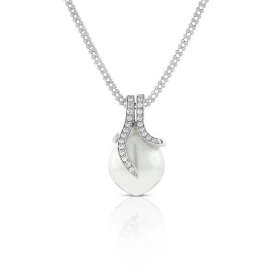 Cultured South Sea Pearl & Diamond Pendant 14K