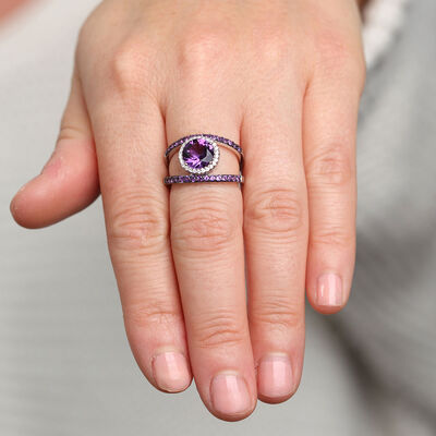 Amethyst & Diamond Ring 14K