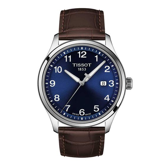 Tissot Gent XL Classic Blue Dial Leather Steel Watch, 42mm
