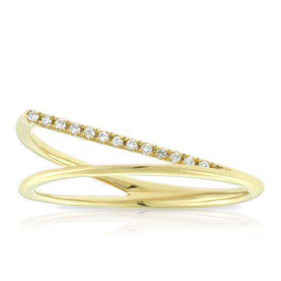 Diamond Bypass Ring 14K, Size 7