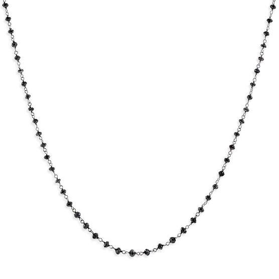 Black Diamond Bead Necklace 14K