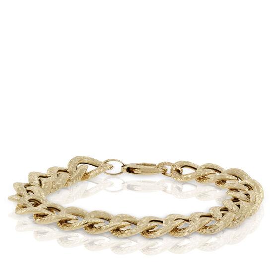 Toscano Reversible Textured Curb Link Bracelet 18K