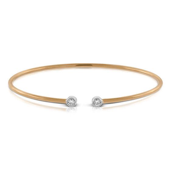 Rose & White Gold Open Flex Diamond Bracelet 18K