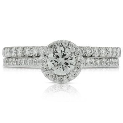 Halo Diamond Bridal Set in Platinum