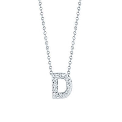 Roberto Coin Tiny Treasures Diamond Initial Pendant 18K Letter 'D'