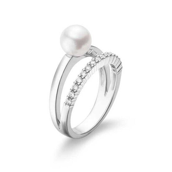 Mikimoto Akoya Cultured Pearl & Diamond Open Band Ring 18K
