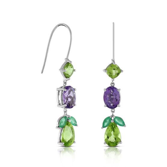 Lisa Bridge Peridot, Amethyst & Emerald  Earrings