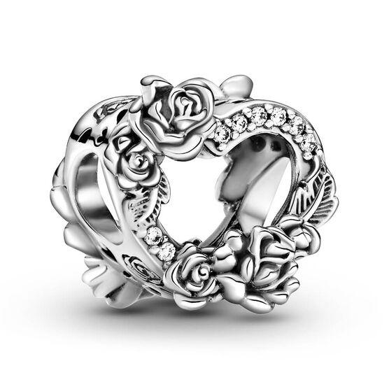 Pandora Open Heart & Rose Flowers CZ Charm