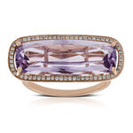 Rose Gold Sideways Amethyst Ring 14K
