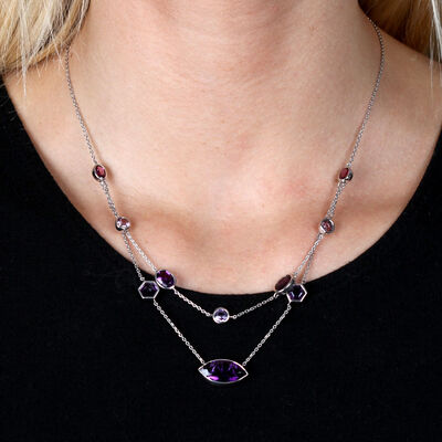 Lisa Bridge Multi-Shape Amethyst Necklace