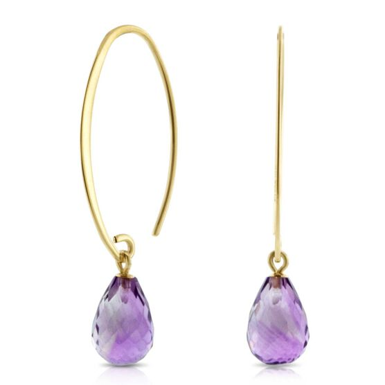 Amethyst Drop Earrings 14K