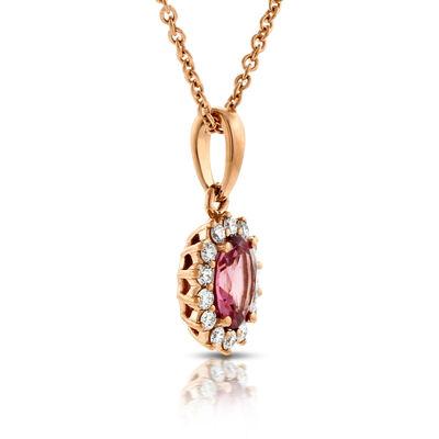 Rose Gold Tourmaline & Diamond Halo Pendant 14K