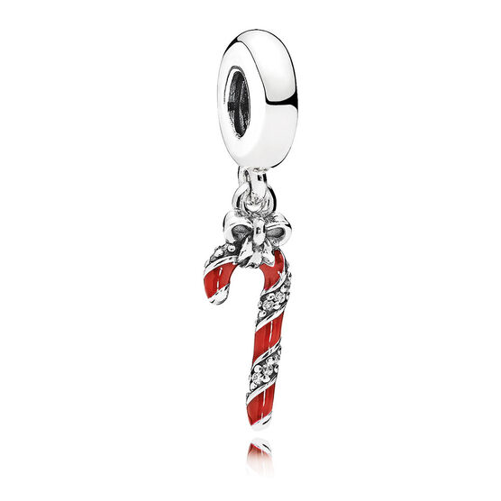 PANDORA Sparkling Candy Cane Enamel & CZ Dangle Charm