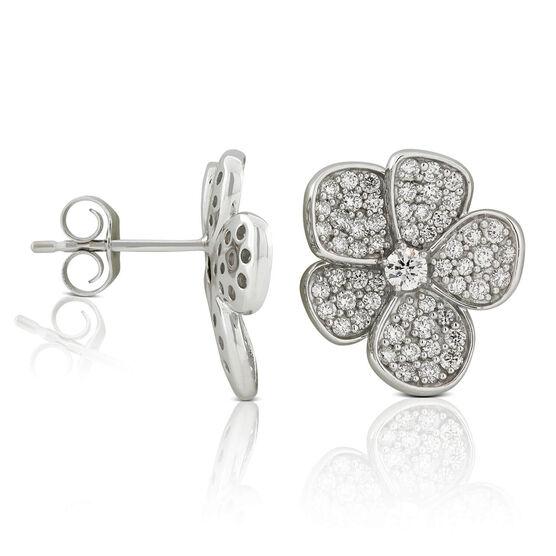 Five Petal Pavé Diamond Flower Stud Earrings 14K