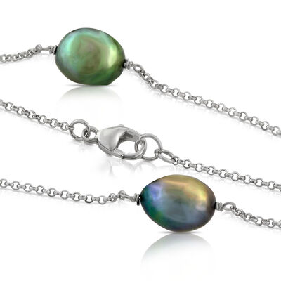 """Dyed Black Freshwater Cultured Pearl Necklace in Sterling Silver, 50"""""""