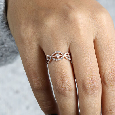 Rose Gold Diamond Wave Ring 14K