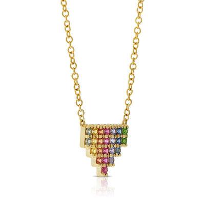 Rainbow Sapphire & Tsavorite Garnet Mini Pyramid Necklace 14K