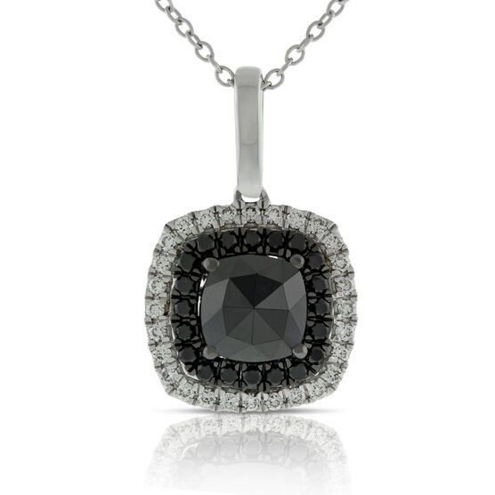 Rose Cut Black Diamond Pendant 14K