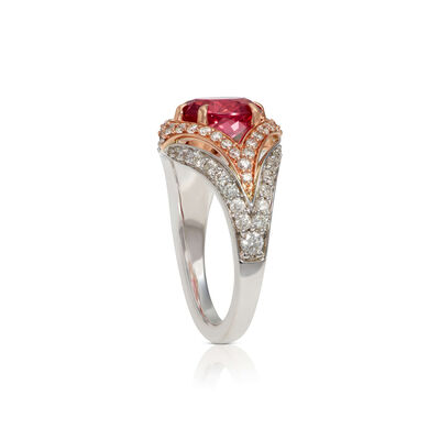 Rose Gold Oval Pink Spinel & Diamond Two-Tone Ring 14K