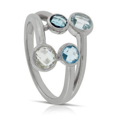 Graduated Color Blue Topaz Ring 14K