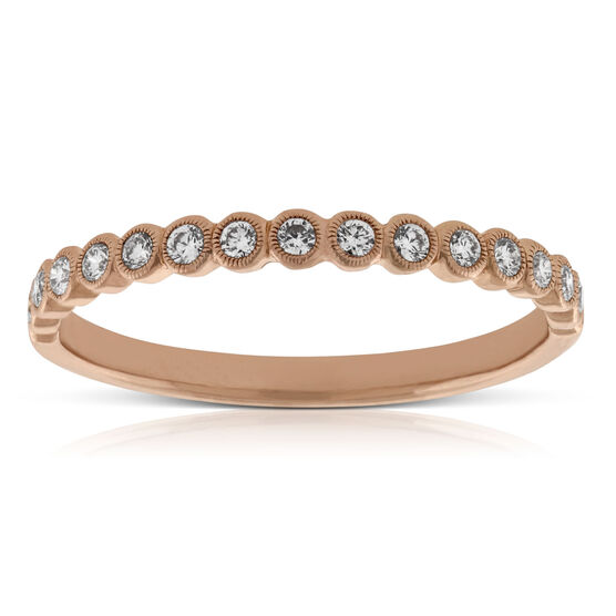 Rose Gold Bezel Set Diamond Band 14K
