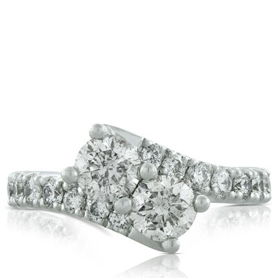 Perfectly Paired 2-Stone Diamond Ring 14K, 2 ctw.