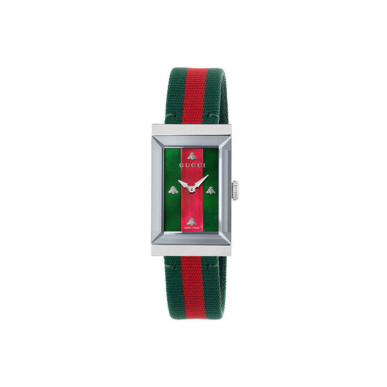Gucci G-Frame Green & Red Bee Nylon Watch