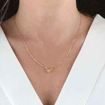 'Embroidered' Heart Necklace 14K