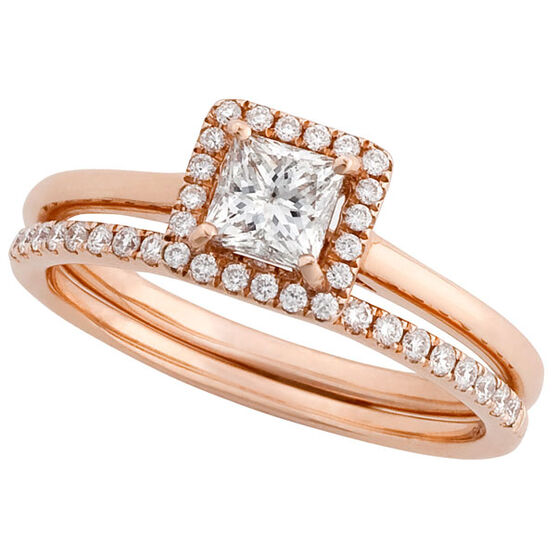 Rose Gold Diamond Bridal Set 14K