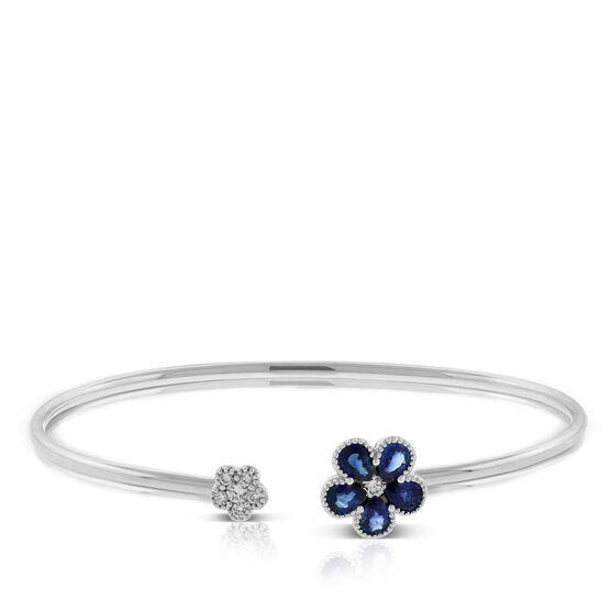 Sapphire & Diamond Flower Bangle Bracelet 14K
